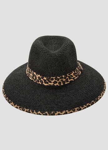 Leopard Trim Straw Panama Hat