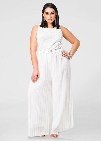 Pleated Chiffon Wide Leg Jumpsuit-Plus Size Dresses-Ashley Stewart ...