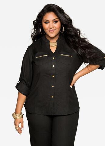 Zip Pocket Linen Shirt