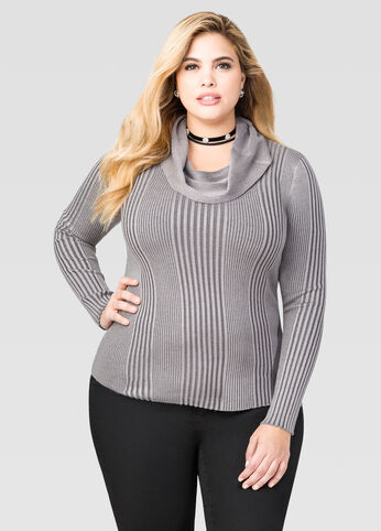 Ribbed Cowl Neck Sweater
