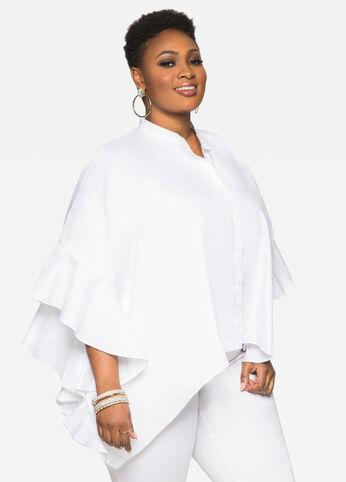 Ruffle Sleeve Poncho Shirt