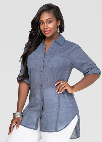 Plus Size Chambray Hi-Lo Shirt in Blue - Front