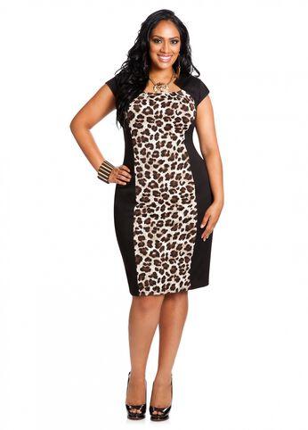 Ponte Animal Print Sheath Dress
