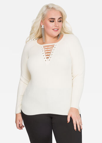 Lace-Up Ribbed Fitted Sweater