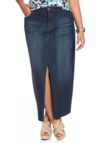 Front Slit Denim Skirt