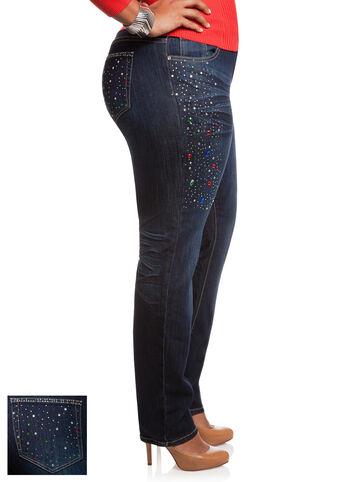 Rhinestone Skinny Denim Pants