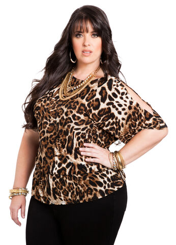 Web Exclusive: Leopard Print Cold Shoulder Top