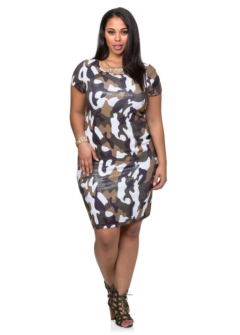 Sequin Camo Dress-Plus Size Dresses-Ashley Stewart