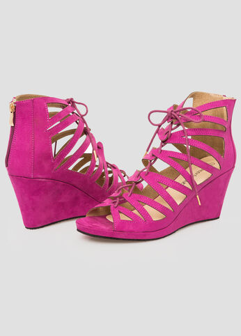 Micro Suede Lace-Up Wedge Sandal-Wide Width Wedges-Ashley Stewart ...
