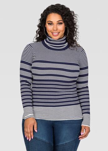 Variegate Stripe Turtleneck Sweater