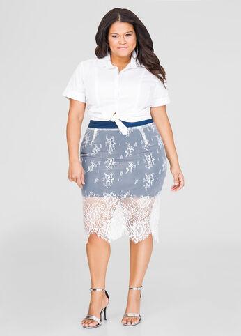 Lace Overlay Denim Skirt-Plus Size Skirts-Ashley Stewart-034-3461X