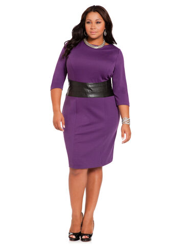 Faux Leather Waist Sheath Dress
