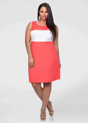 Linen Colorblock Sheath Dress
