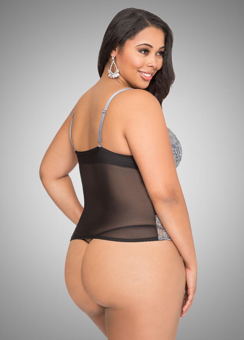 Mesh Lace Cami Lingerie Set-Plus Size Lingerie-Ashley -1502