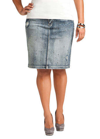Rhinestone Denim Skirt