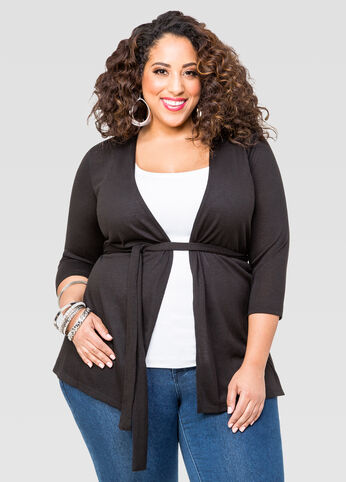 Belted Open Front Cardigan