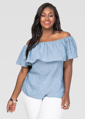 Plus Size Off Shoulder Peasant Top in Blue - Front