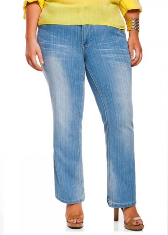 Whiskered Skinny Boot Cut Denim