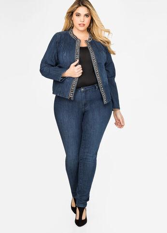 Rhinestone Trim Skinny Jean