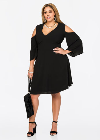 Deep V Cold Shoulder Dress