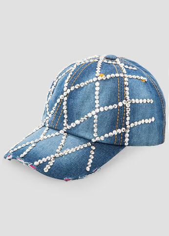 Embellished Denim Baseball Cap
