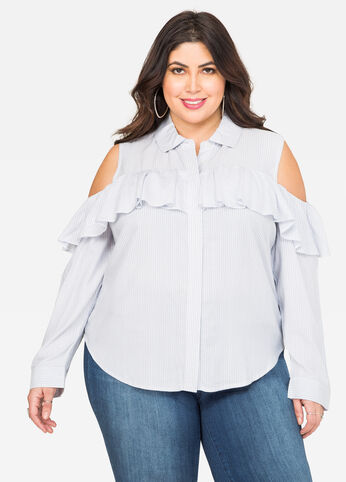 Striped Ruffle Cold Shoulder Shirt