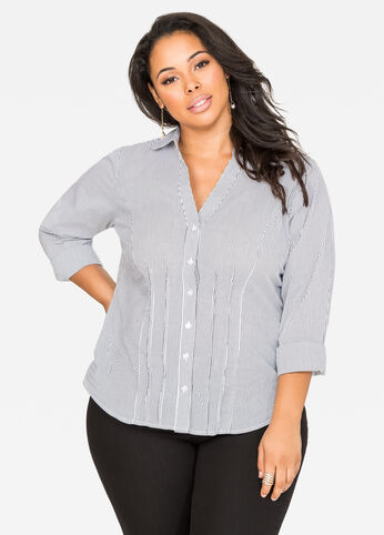 Pleated Stripe Button Front Shirt