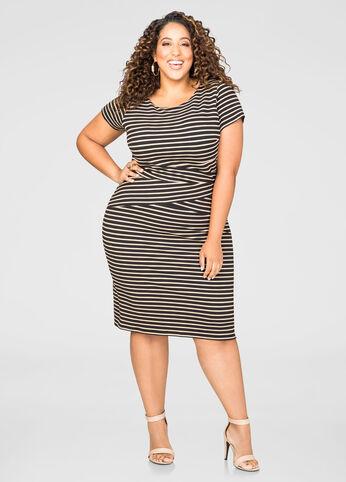 Textured Stripe Sheath Dress