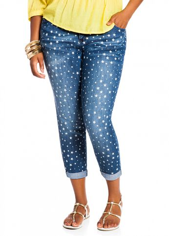 Star Print Skinny Ankle Denim