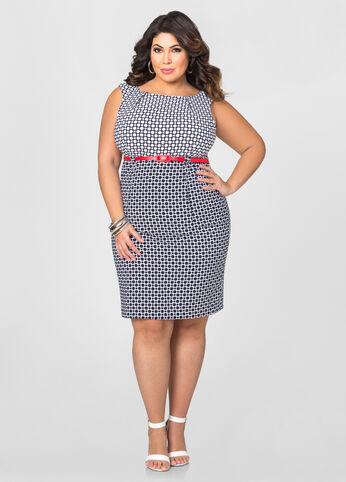 Skinny Belt Dot Dress