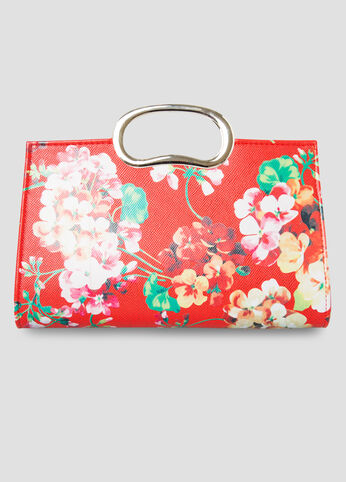 Floral Print Clutch Bag in Red