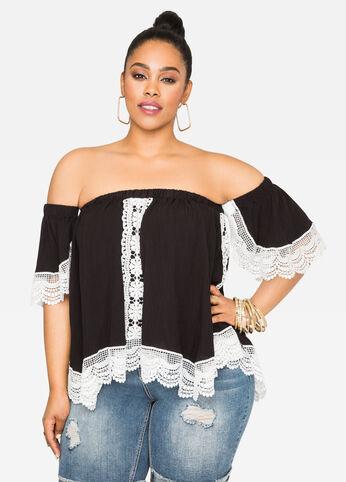 Off-Shoulder Crocheted Top