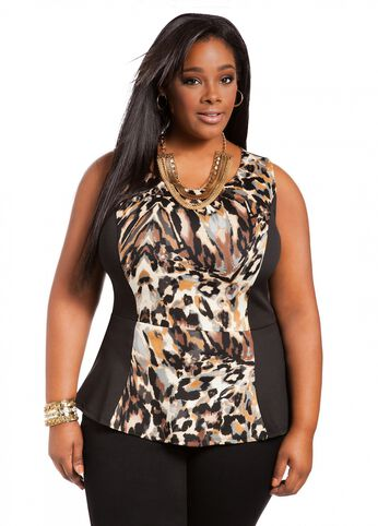 Sleeveless Animal Print Peplum
