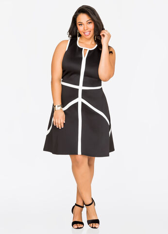 Contrast Piped Skater Dress