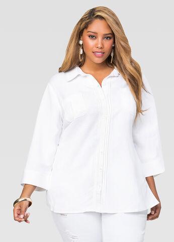Linen Pintuck Button Front Shirt