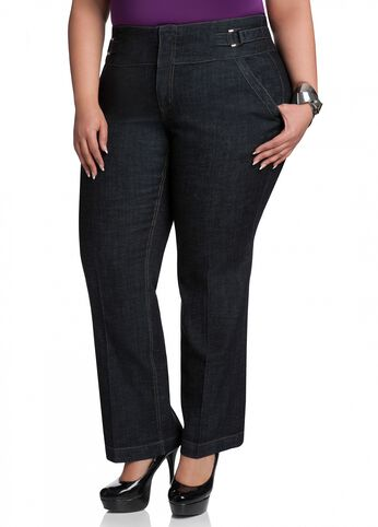 Side-tab Embellished Denim Jeans