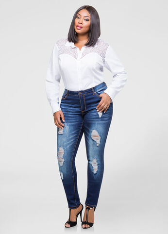 Plus Size Destructed Skinny Jean Indigo