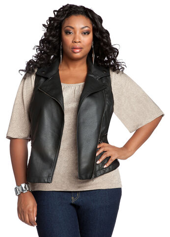 Asymmetric Faux Leather Vest