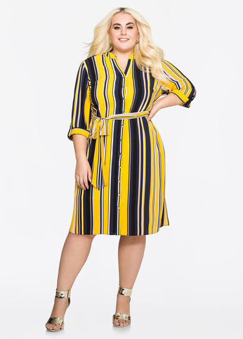 Belted Striped Shirtdress