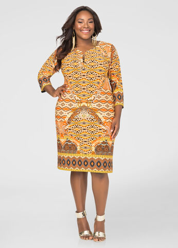 Printed Chain Lace-Up Dress