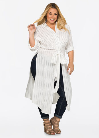 Striped Tie Front Duster Top