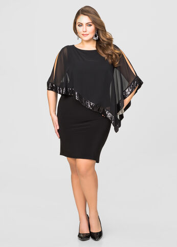 Sequin Cape Overlay Dress