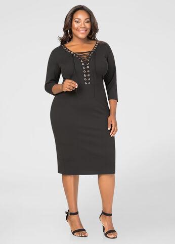 Deep V Lace-Up Grommet Dress