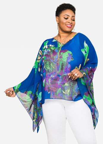 Sheer Floral Poncho Top