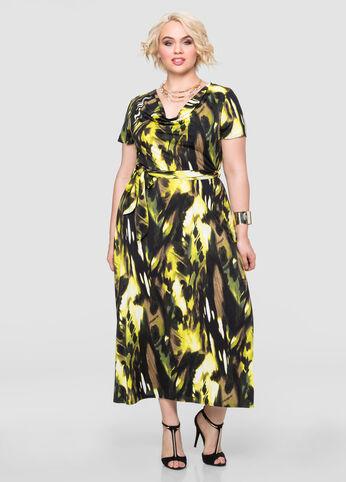 Belted Drape Neck Maxi Dress