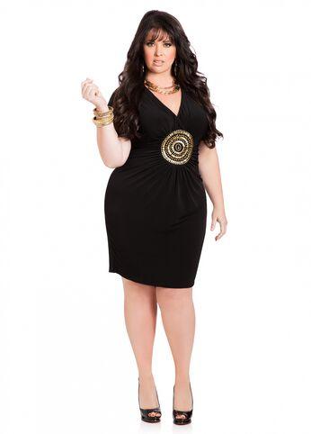 Gold Medallion Little Black Dress