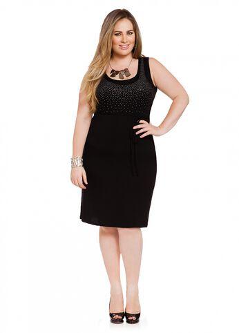 Embellished Belted Dress