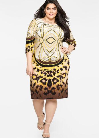 Mixed Print Sheath Dress