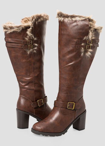 Chunky Fur Lined Tall Boot - Wide Calf, Wide Width