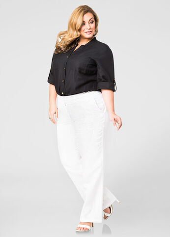 Two Button Linen Trouser Pants-Plus Size Pants-Ashley Stewart-038 ...